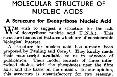 Artículo de Watson y Crick en la revista Nature, 25 de abril de 1953